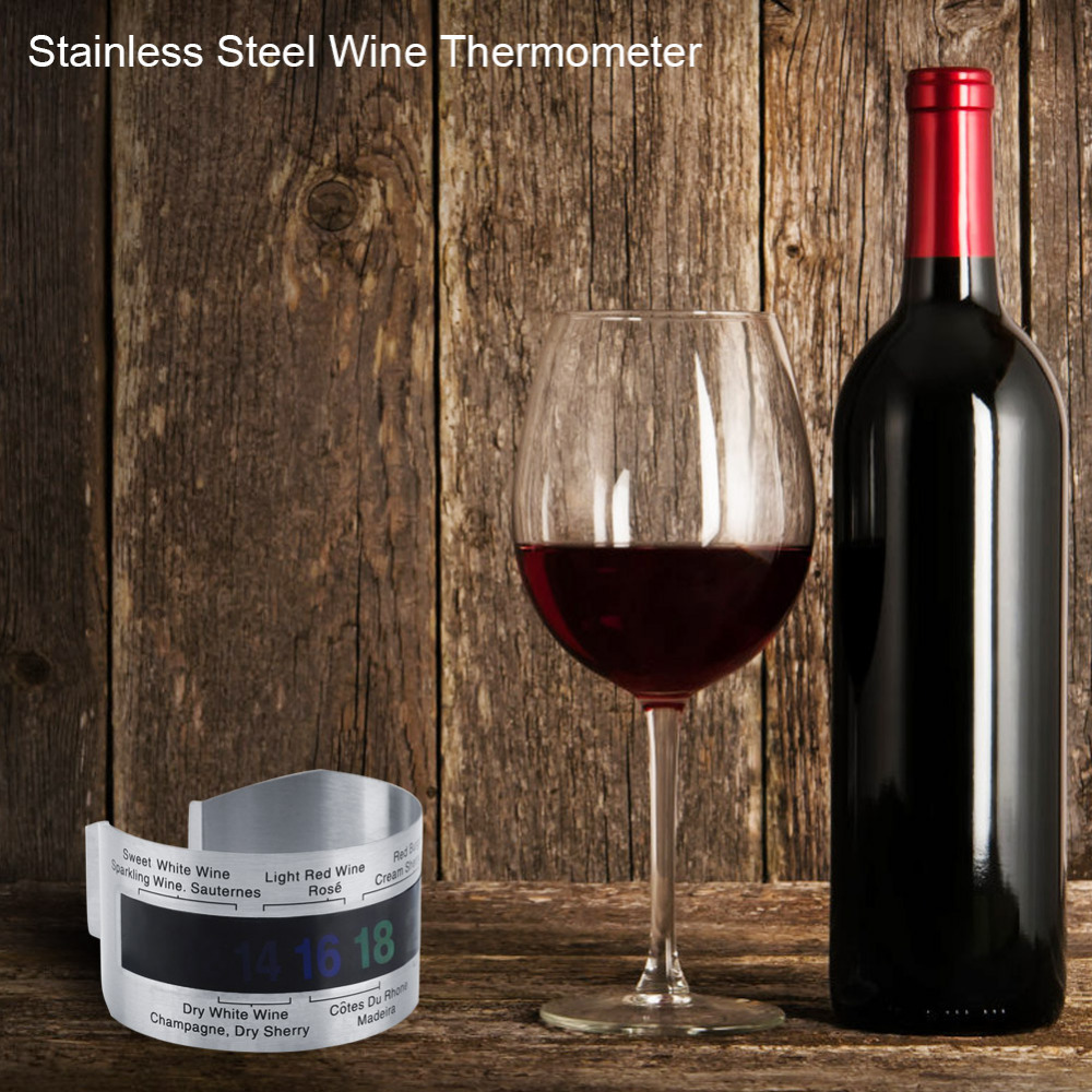 Stainless Steel Wine Lcd Thermometer Bottle Beer Red Wines Bracelet Temperature Thermometer Sensor Meter Home Electronic Accessories Consumer Electronics