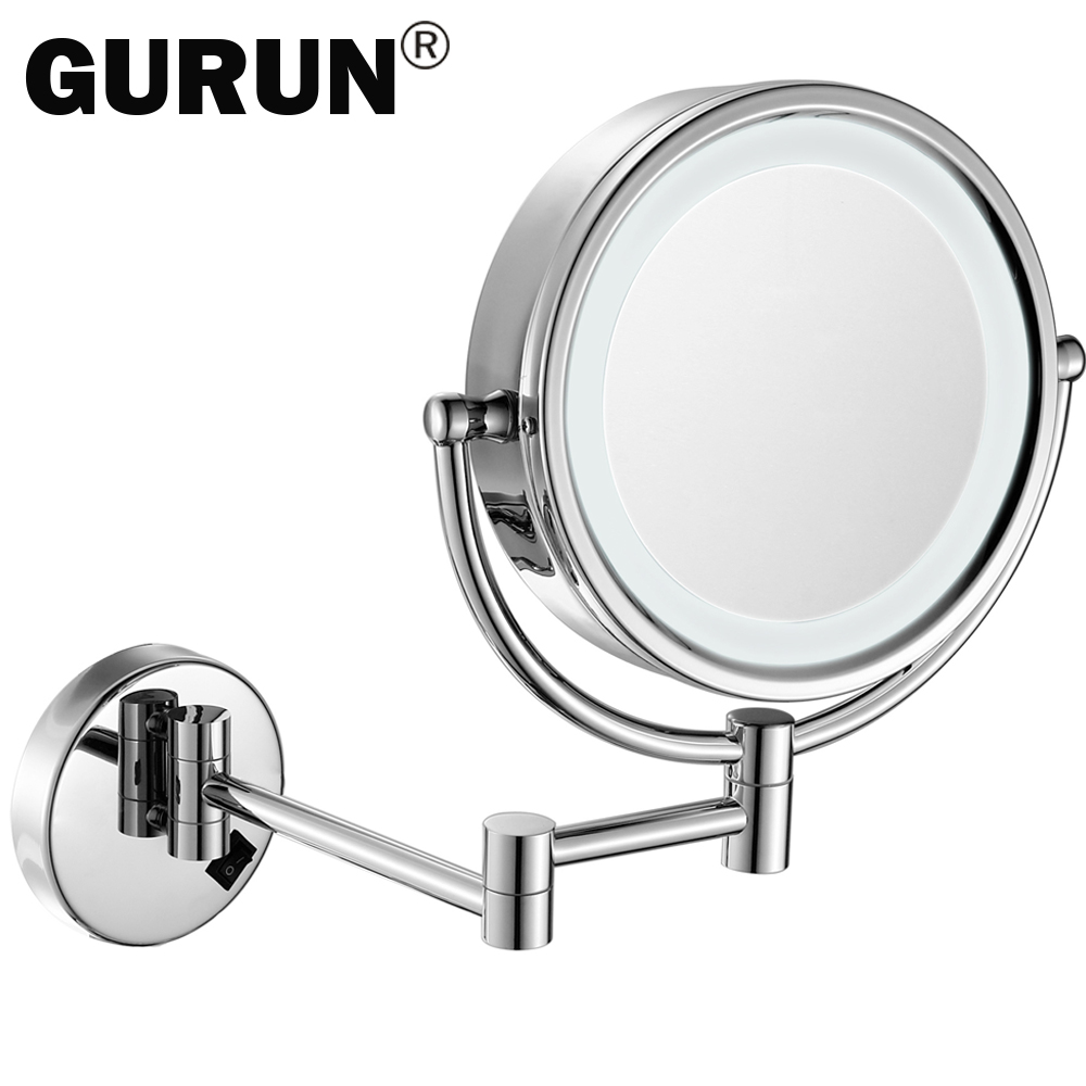 8 5 Inch Led Lighted Wall Mount Makeup Mirrors With 10x