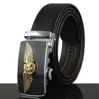 2015 New Style Men S Genuine Leather Belt Business White Sun Buckle Belts For Men