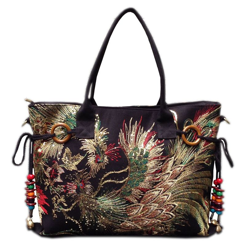 2018 new canvas embroidered women bag national characteristics single messenger bag women's fashion leisure bag crossbody bag