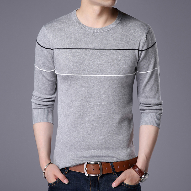 New Fashion Men Slim Sweater Solid Color Pullovers Long Sleeve O-Neck Knitted Sweaters Mens Tops Pull Homme