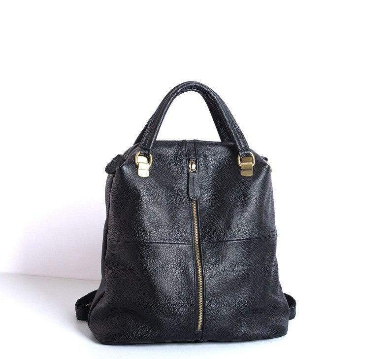 Solide echtes leder kuh haut frauen rucksack große kapazität zip tasche-in Rucksäcke aus Gepäck & Taschen bei  Gruppe 1