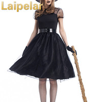 Halloween Women Black Sleeping Beauty Witch Queen Maleficent Costumes Carnival Party Cosplay Fancy Dress M 3XL Laipelar Party