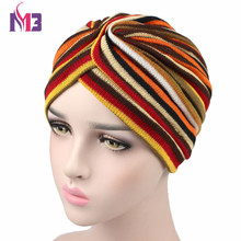 Winter Women Cashmere Turban Knitted Warmer Headband Colorful Striped Headwear Muslim Hijab Turbante Hat