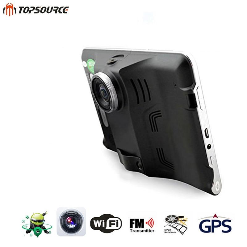 TOPSOURCE 7 '' Car DVR Nawigacja GPS Android Radar Detector 16GB Samochód ciężarowy nawigacji GPS navitel / Hiszpania mapa Kamera wsteczna