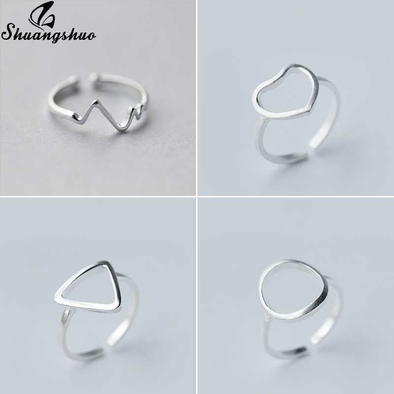 Shuangshuo חמוד מיני גיאומטרי תכשיטי מיקי טבעות לנשים בנות אצבע טבעת משולש עגול גל פתוח Bagues גבירותיי