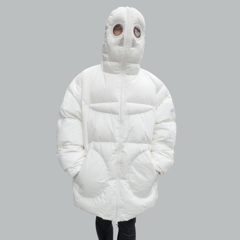 Winter Coat Women Loose Parka Full Face Cap Hooded Thick Parka Plus Size Women's Jacket White Black Funny Personality Alien Coat