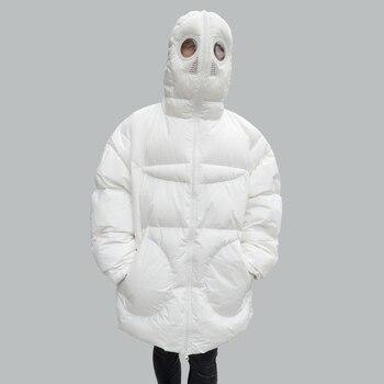 Winter Mantel Frauen Lose Parka Volle Gesicht Kappe Kapuze Dicken Parka Plus Größe frauen Jacke Weiß Schwarz Lustige Persönlichkeit alien Mantel