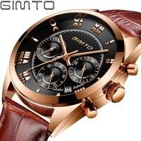 Luxury Men Business Watch Rose Gold Genuine Leather GIMTO Brand Male Dress Watch Waterproof Auto Date