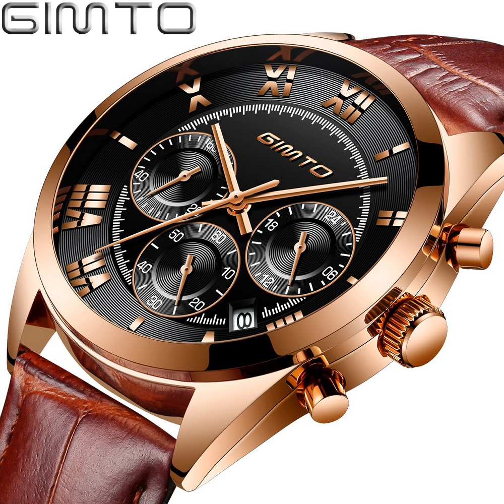 Luxury Men Business Watch Rose Gold Genuine Leather GIMTO Brand Male Dress Watch Waterproof Auto Date Roman Numeral Unique Clock
