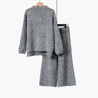Knitted Wide Leg Pants Suit Female 2018 Spring And Autumn New Korean Students Loose Temperament Fashion
