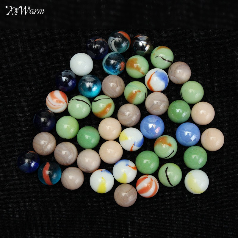 Kiwarm 45x Colorful Glass Marbles Children Toys Glass Ball Kids Traditional Game Play Craft Art Gifts For Home Decor