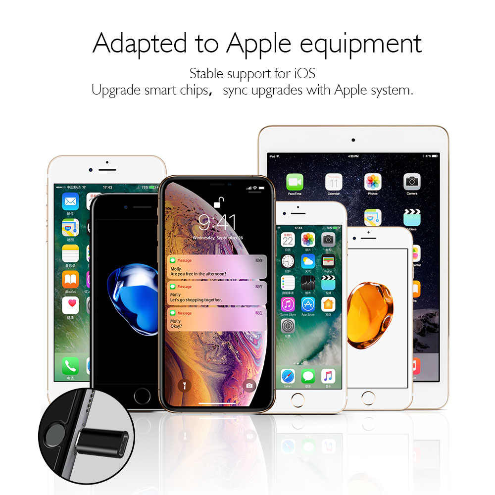 NYFundas 3 piezas Conector Micro usb adaptador para Apple iphone XS MAX XR 8 7 6 plus 5 5S se X ipad 4 Tpye_c USB2.0 convertidor de Cable