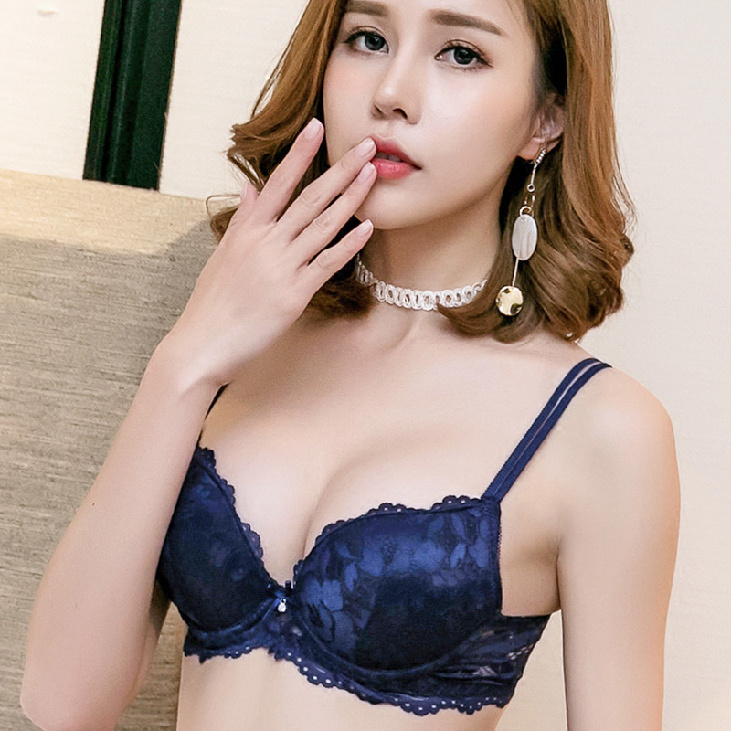 Spring new arrival sexy deep V-neck small push up lace thin cup this red young girl underwear   bra     set