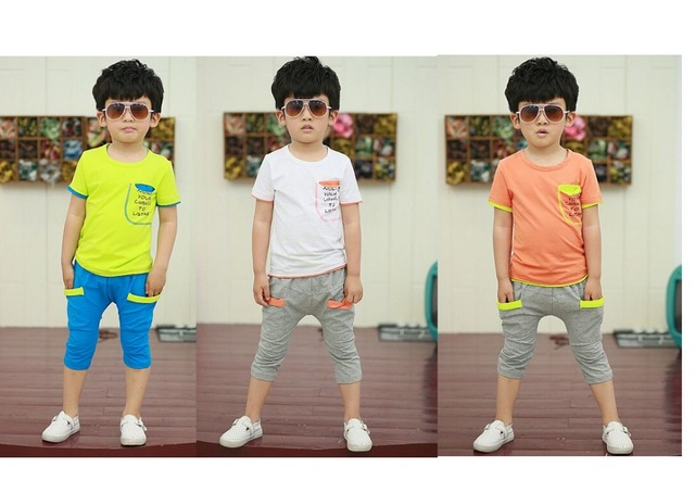 2015 Letter fluorescent pocket for children's summer suit Boy girl cotton T-Shirts+Pants & Capris Two sets boy kids sets lzj042