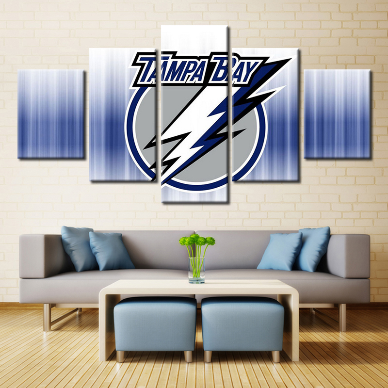 5 Pieces Tampa Bay Lightning Modern Home Wall Decor Painting Canvas Art Hd Print Painting Canvas