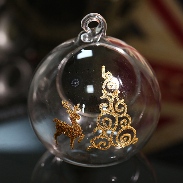 Christmas Glass Ball Cadle Holder Tealight with Gold Xmas Tree and Deer Decoration Hanging Pendant Supplier Freeship