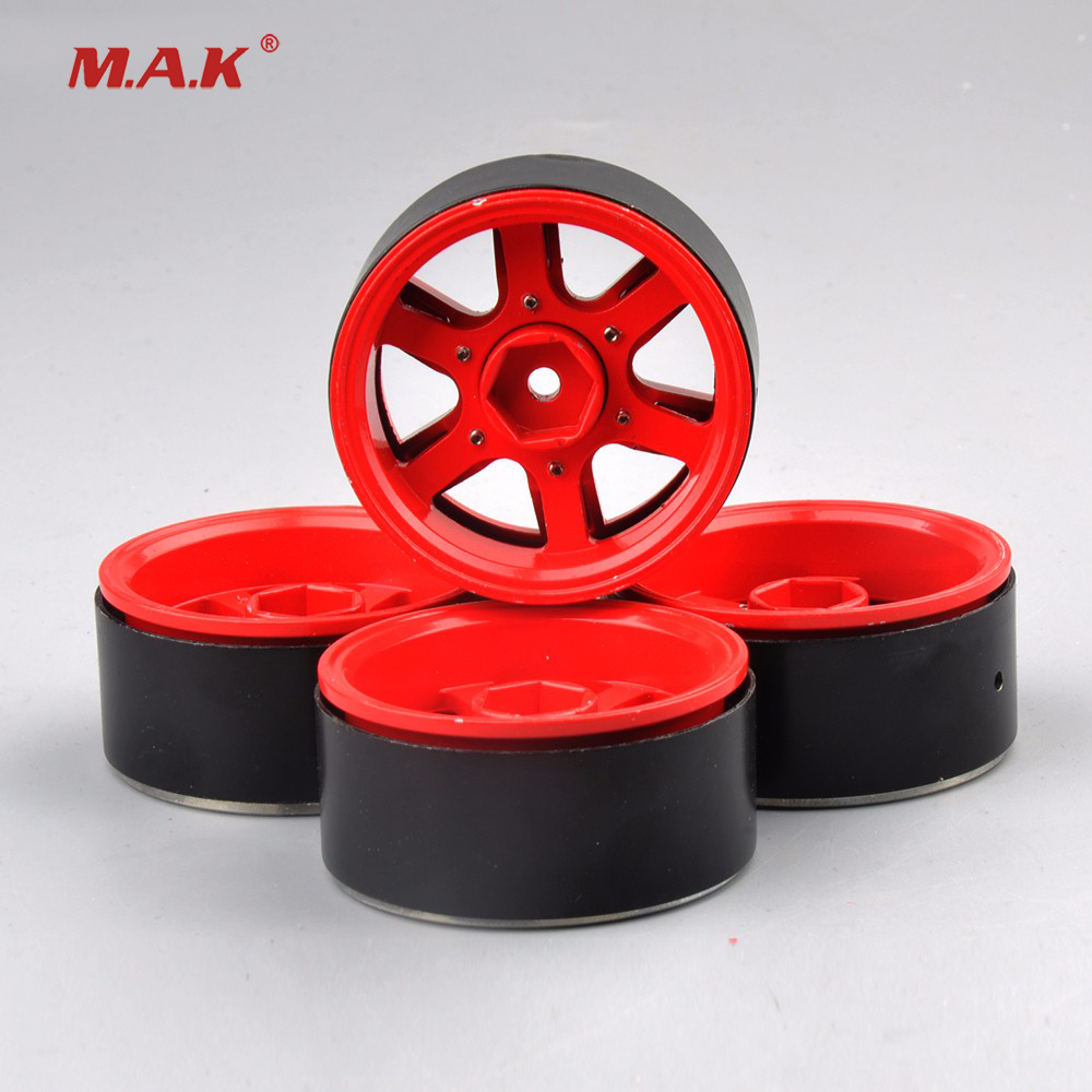 For Climbing Car/ Remote Control Toy Car 4 PCS 1/10 Aluminum Alloy Wheel Hub AX-615R 12mm Hex Red RC Car Model Toy Accessorie