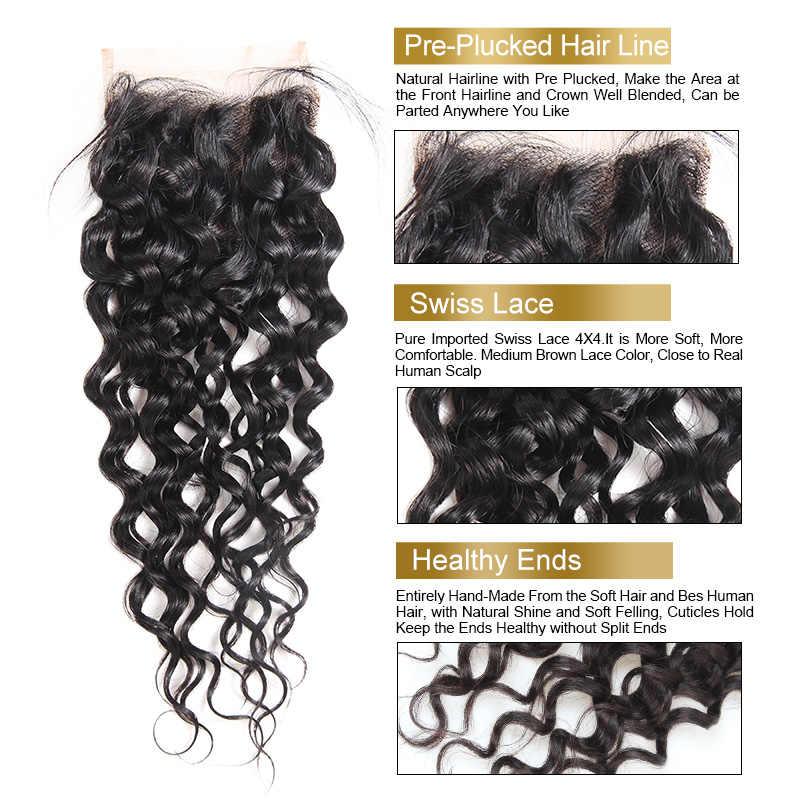 Paquetes de onda de agua Malasia de pelo Funmi con cierre 3 paquetes con cierre 4X4 pulgadas paquetes de cabello virgen con cierre de la parte libre