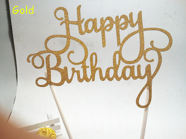 Gold Glitter Script Happy Birthday Cake Toppers Kids Birthday Party