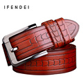 IFENDEI 2016 Luxury Designer Belts Men High Quality First Layer Genuine Leather Belts Vintage Business Casual Red Strap Jeans