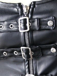 Image 3 - Womens Front Buckled Leather Bustier Corset With Bondage Rings Sexy Fetish Role Play Costume Mistress Playsuit Black