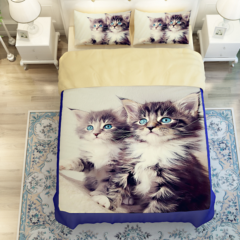 3d oil twin size cat bed linen 3 4pc duvet cover without filler 100