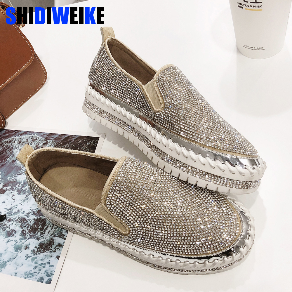 2019 brand European fashion Espadrilles Shoes Woman leather creepers flats ladies loafers crystal loafers g361