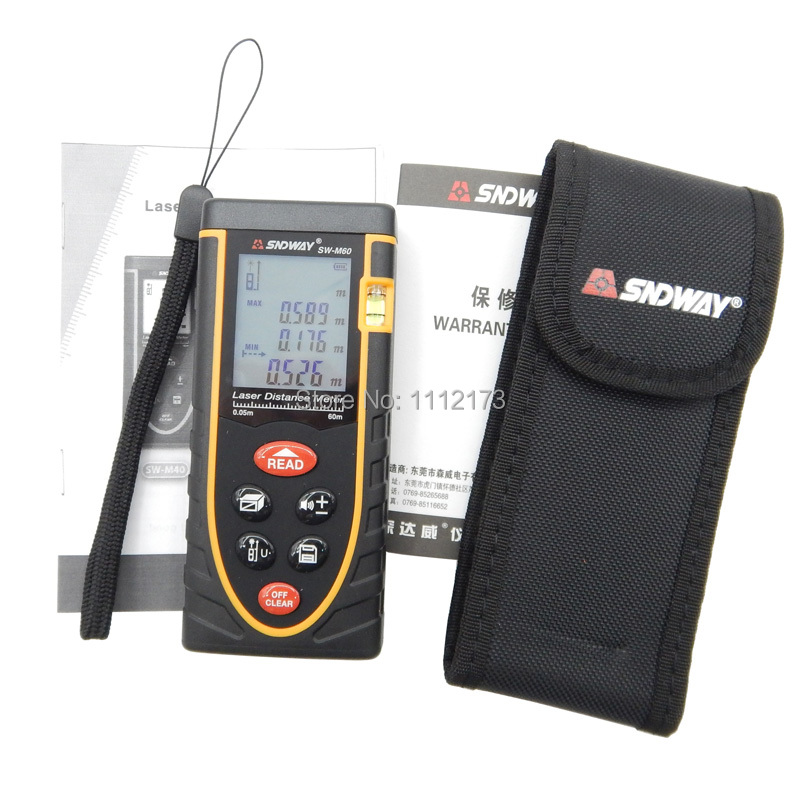 ФОТО SW-M60 60m Digital distance meter/Laser Rangefinders Bubble level Area/volume M/Ft/in tool Rangefinder distance finder meter