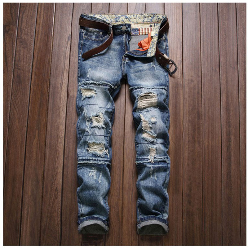 ФОТО New Ripped Jeans for Men Hole Jeans Slim Straight Washed Pants Casual Denim Blue Destroyed Trousers Biker Jean Size 29-38