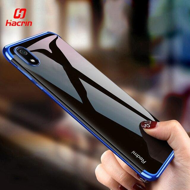 Hacrin per il Caso di Xiaomi Redmi 9 Caso di Lusso Trasparente Trasparente Del Respingente di TPU Del Silicone di Caso Della Copertura di Placcatura per Xiaomi Redmi 8 7A