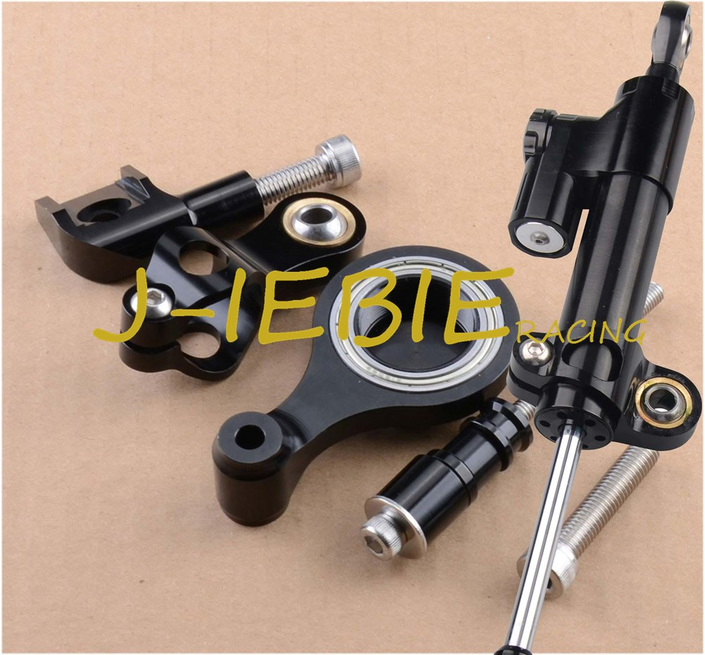 CNC Steering Damper Stabilizer and Black Bracket Mounting For Yamaha YZF R6 2006 2016 2007 2008
