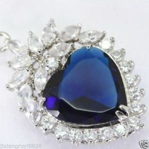 FREE SHIPPING>>@> Hot sale new Style >>>>>Blue HEART of ocean titanic CZ crystal Pendant Necklace