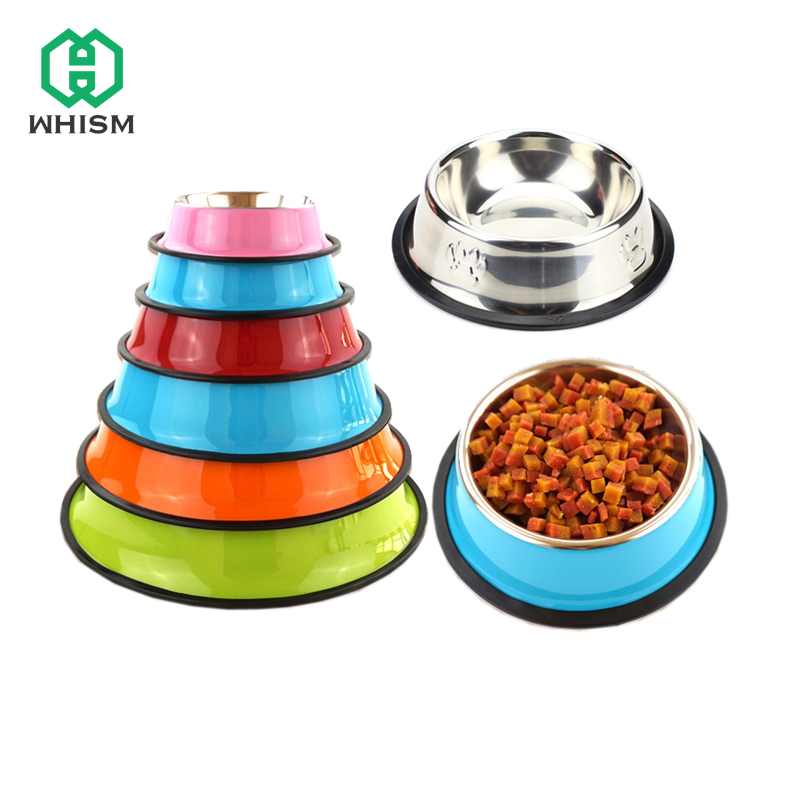 Whism Cat Dog Bowls Stainless Steel Travel Non-slip Feeder Drinker For Pet Dogs Cats Puppy Food Bowl Water Dishes 7 Colors