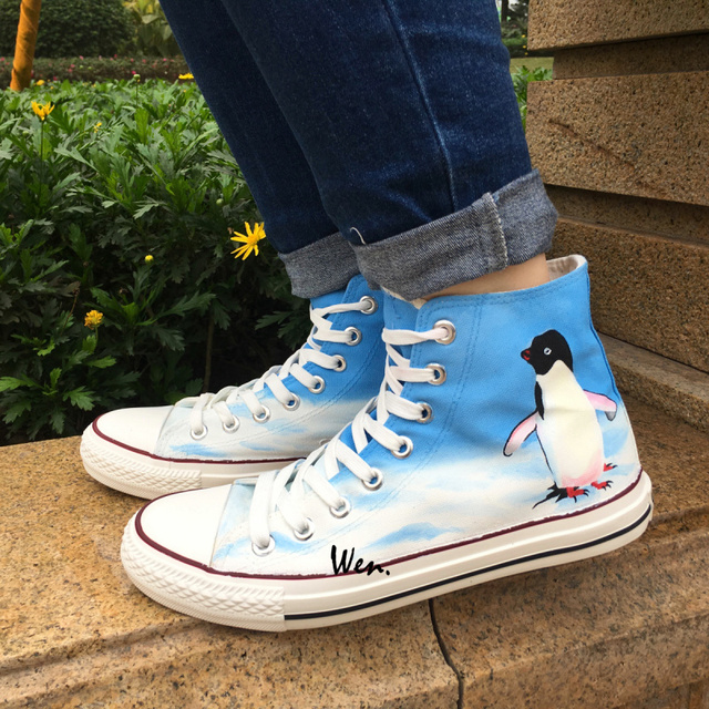 17b001c1888a9 Wen Design Custom Hand Painted Sneakers Penguin Men Women s High Top Canvas  Shoes Christmas Birthday Gifts