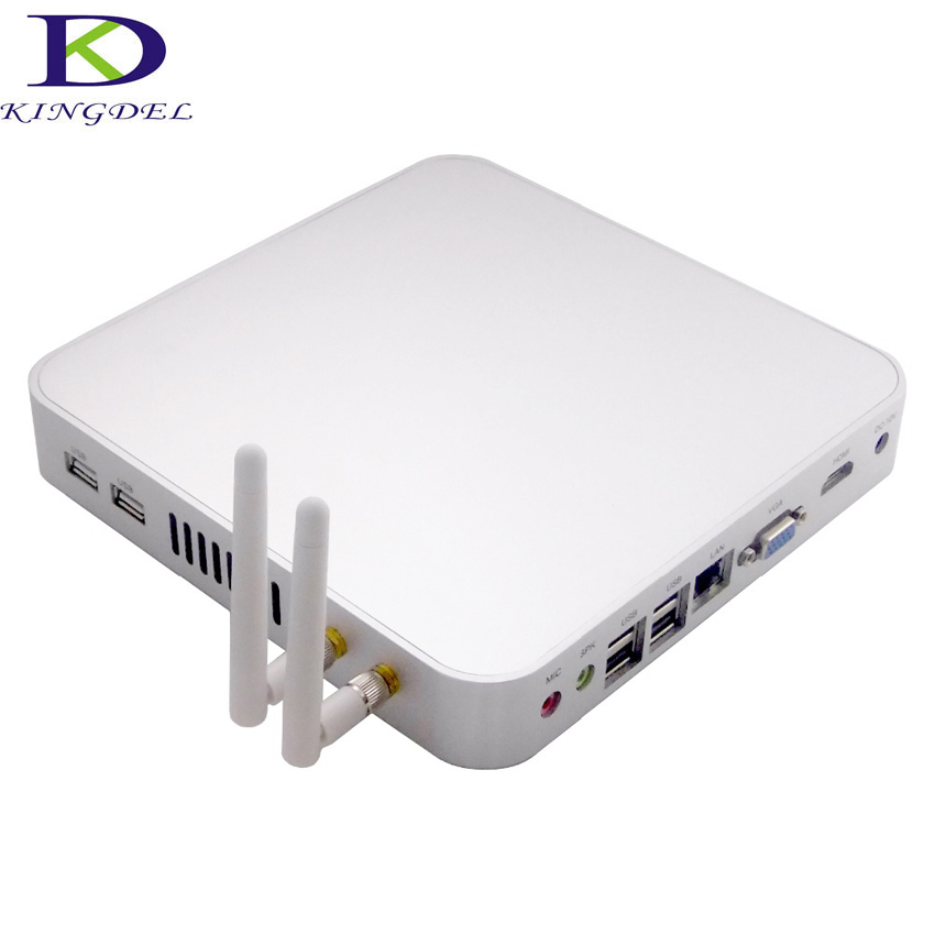 Kingdel Mini PC Desktop Computer HTPC Intel Celeron 1007U 1017U 1037U Dual Core 4G 8G RAM SSD+HDD HDMI VGA Fanless Metal Case