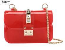 Women rivet flap mini bag chain jelly candy color party handbag  crossbody  messenger purse bags