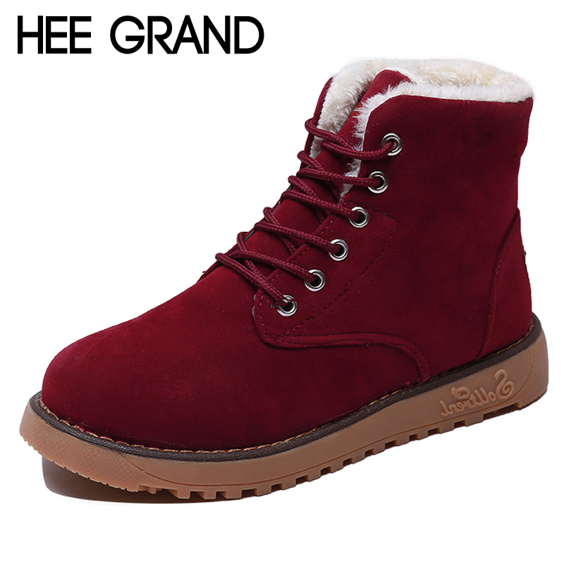 купить HEE GRAND Faux Suede Women Winter Warm Ankle Boots Lace Up Casual Shoes Women Gladiator Round toe Women Flats Shoes XWX6762 по цене 653.37 рублей