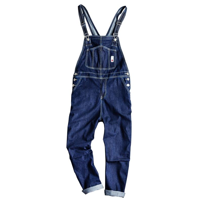 Sokotoo Men's pockets loose straight blue denim bib overalls Suspenders jumpsuits Jeans Coveralls