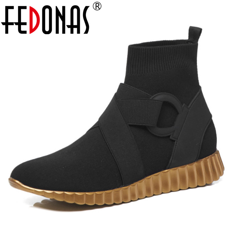 FEDONAS Brand Women Ankle Boots Flats Platforms Casual Shoes Woman Warm Autumn Winter Stretch Socks Boots Ladies High BootsFEDONAS Brand Women Ankle Boots Flats Platforms Casual Shoes Woman Warm Autumn Winter Stretch Socks Boots Ladies High Boots