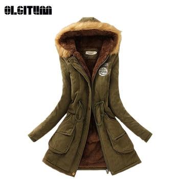 Winter Women Coat 2020 Parka Casual Outwear Military Hooded Coat Woman Clothes Fur Coats female Winter
