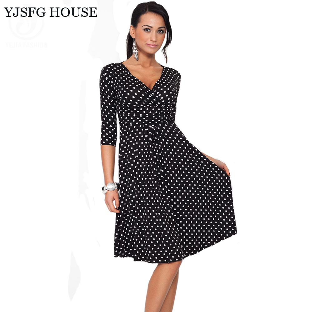 US $13.8 22% OFF|YJSFG HOUSE Plus Size Women Clothing 2017 Summer Autumn  Polka Dot Office Work OL Dresses Vintage Tunic Stretchy Maternity Dress-in  ...