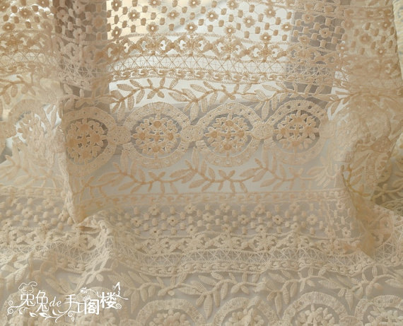 cream Embroidered Organza Lace Fabric, retro floral lace, cotton embroidered lace fabric, lace curtain fabric by the yard-in Fabric from Home & Garden