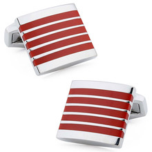Gift Red Enamel Trendy Square Rhodium Plated Base Copper Men's Accessories Shirt Jewelry Cuff links