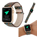 Estilo popular do vintage pintura colorida watch strap band para apple watch pulseira de couro com conector estilo nacional