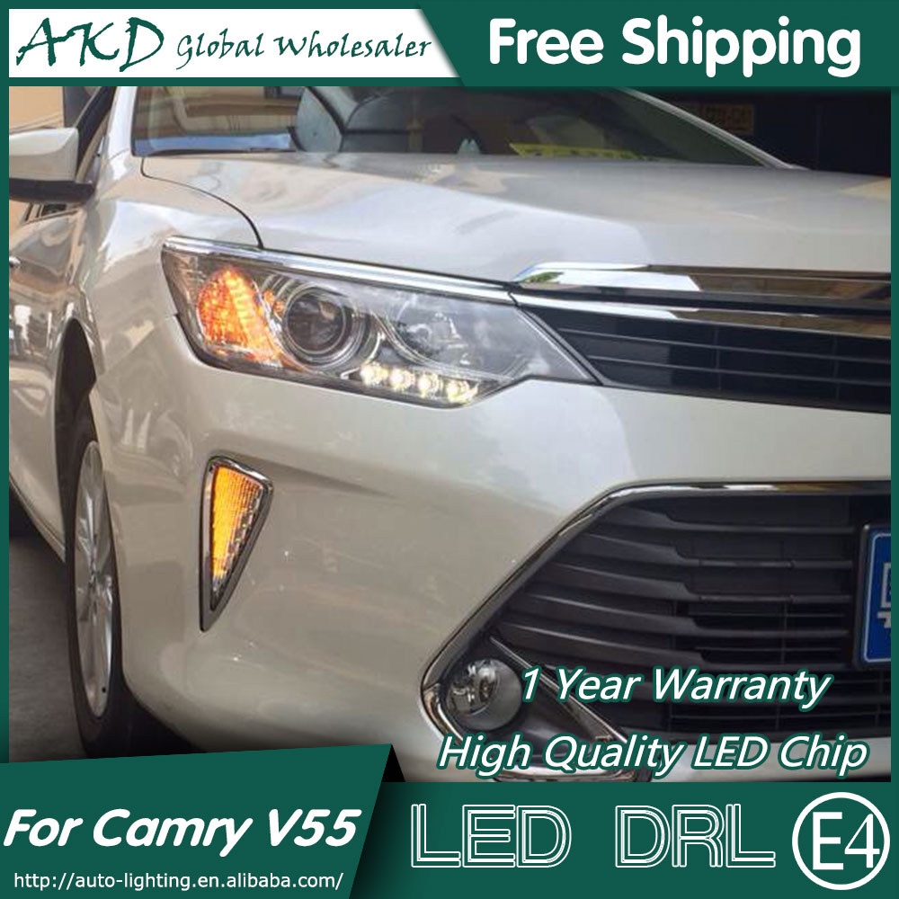AKD Car Styling for Toyota Camry V55 LED DRL 2015 New Camry LED Daytime Running Light Fog Light Signal Parking Accessories 2014 2015 year camry v55 led bumper light for toyota v1