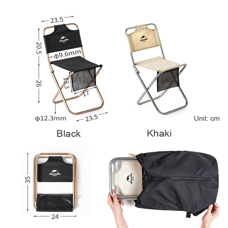 Image 2 - Naturehike Portable Folding Chair Outdoor Beach Camping Picnic Wear resistant Aluminum Leisure Chair Back Fishing Chairs Stools-in Camping Chair from Sports & Entertainment
