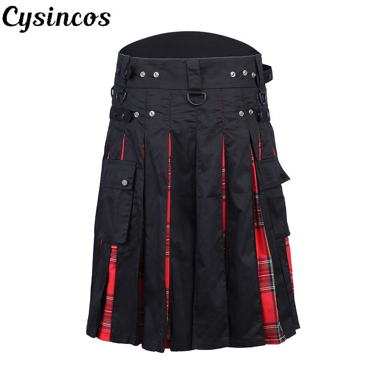CYSINCOS Pant Skirt Scottish Kilt Scotland Plaid Punk Casual Trousers Hip-Hop Fashion