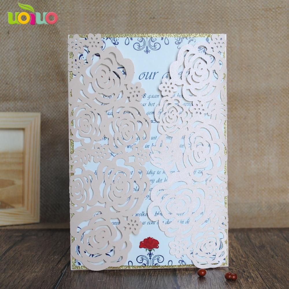 Aliexpress.com : Buy 30 Laser Cut Rose Flower Birthday invitations ...