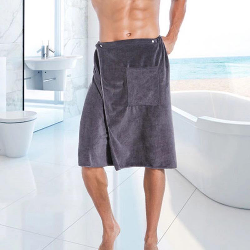 Bath Towel with Pocket-Blue-Grey-Brown